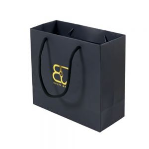 Craft Paper Shopping Bag With Custom Printed Logo & Ribbon Handle