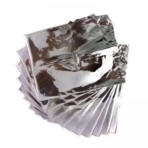 Silver Open Top Aluminum Foil Bag Tear Notch Heat Vacuum Seal Candy Tea Ground Coffee Powder Bean Package Pouches