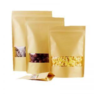 Flat Brown Window Kraft Paper Zipper Pouch For Gifts/candy/tea/food/wedding Not Window No Stand Up Zipper Kraft Bags Crafts Packing Bag